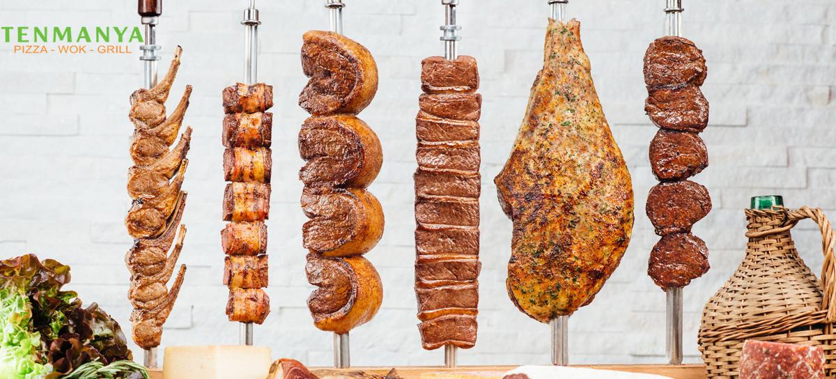 Brazilský gril – neomezená konzumace různých druhů mas i mořských plodů